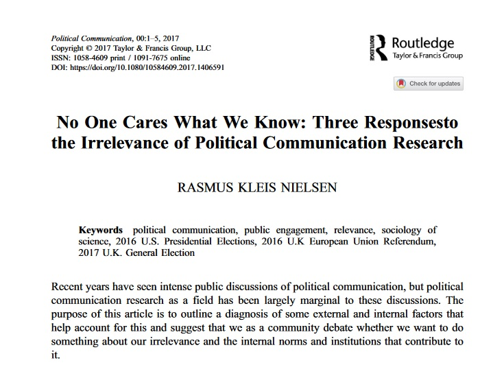 No One Cares What We Know: Three Responses to the