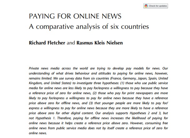paying for online news a comparative analysis of six countries