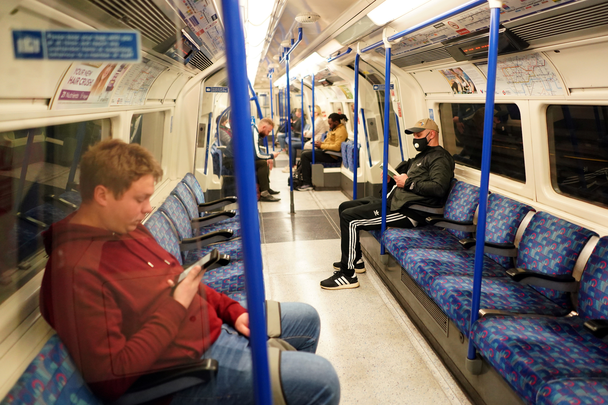 People on a London Tube