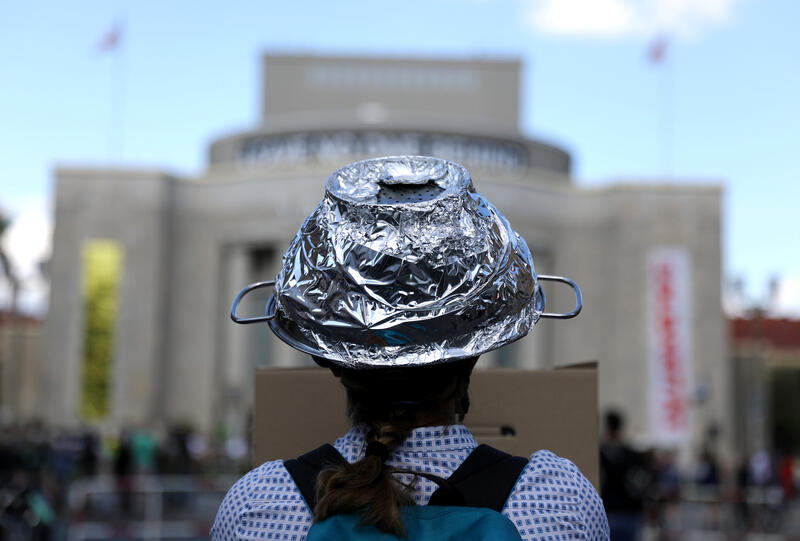 Woman with tinfoil hat