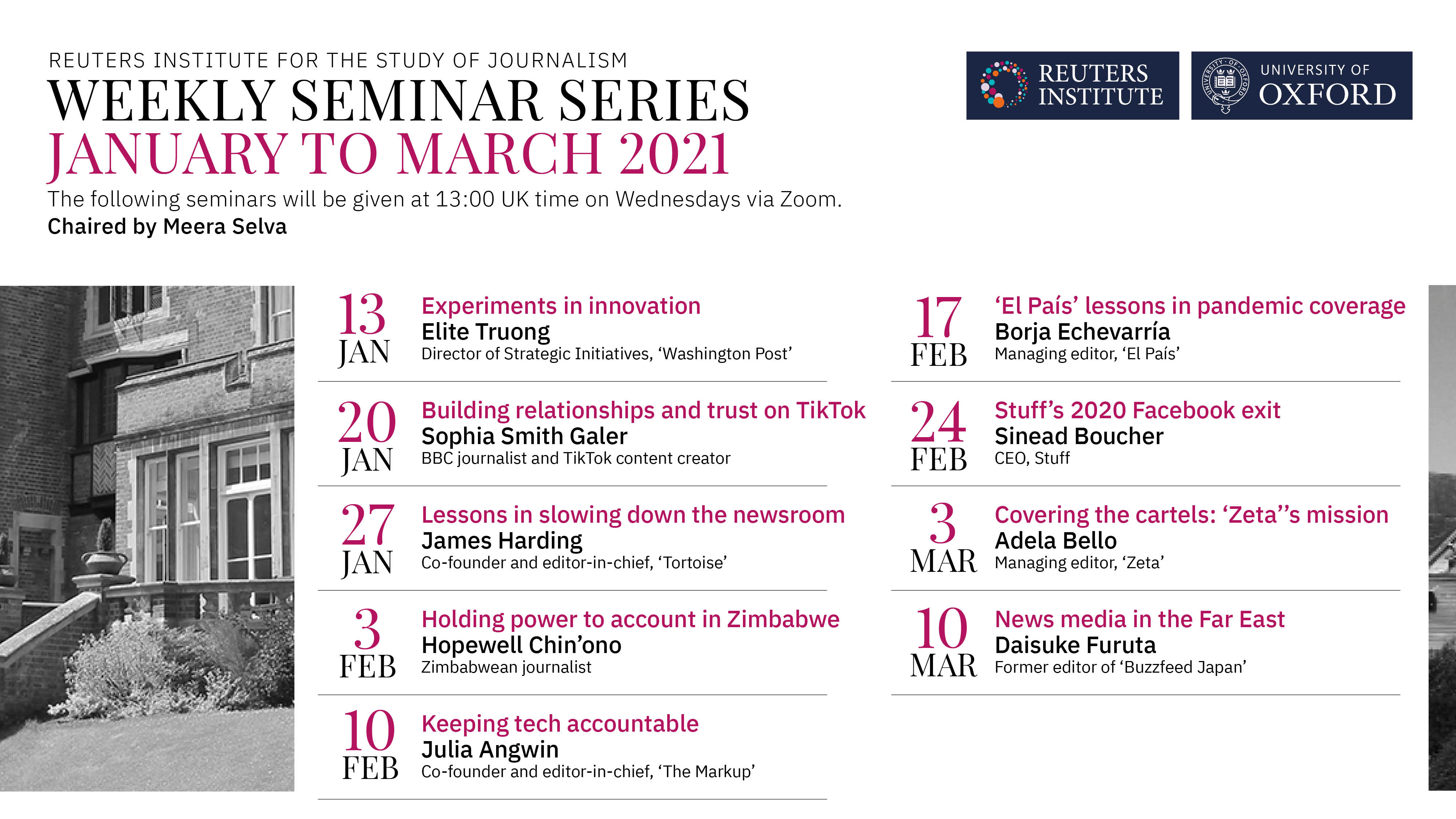 Our global journalism seminar series from January to March 2021.