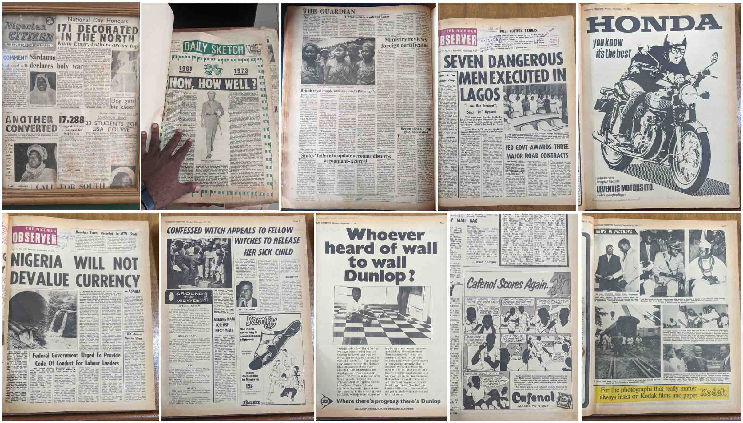 Nigerian newspapers digitised by the members of the project.