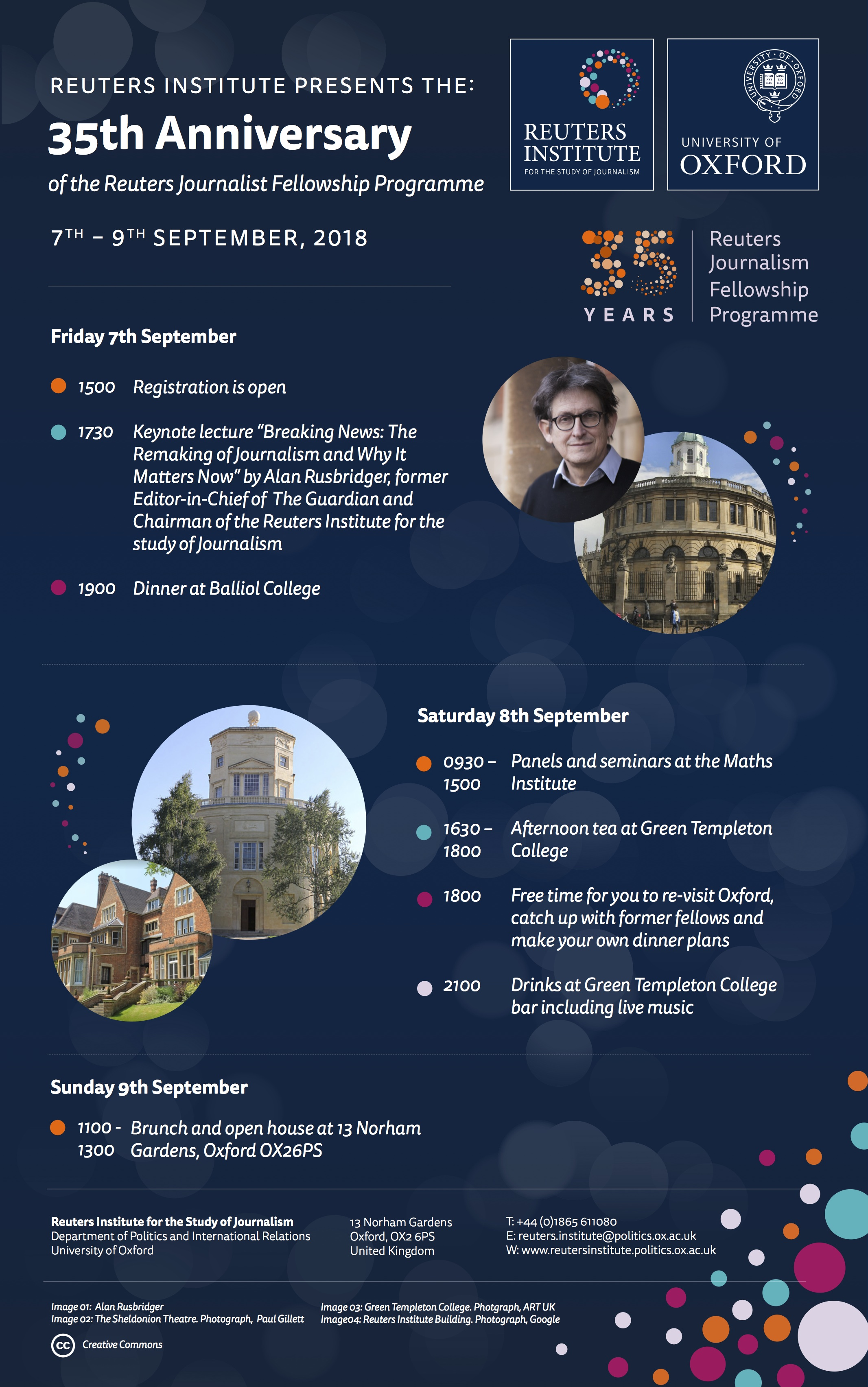 35th Anniversary weekend, programme of events