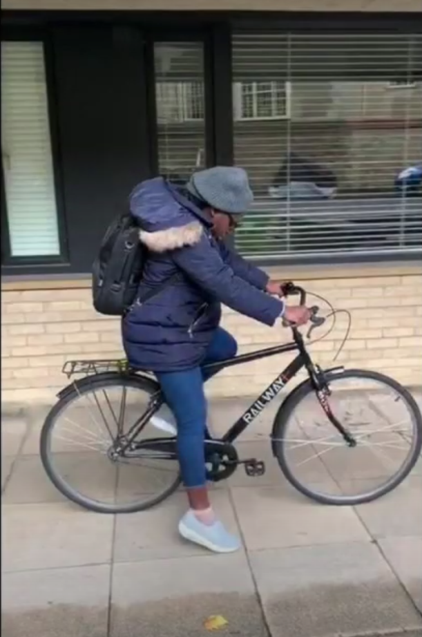 Adesola's first time on a bicycle in Oxford (Supplied)