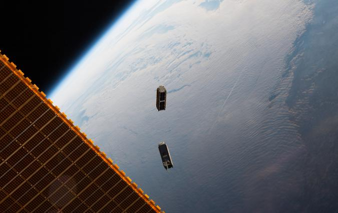 Two shoe-box sized 'Dove' nanosatellites built by Planet Labs, are launched from the International Space Station May 17, 2016