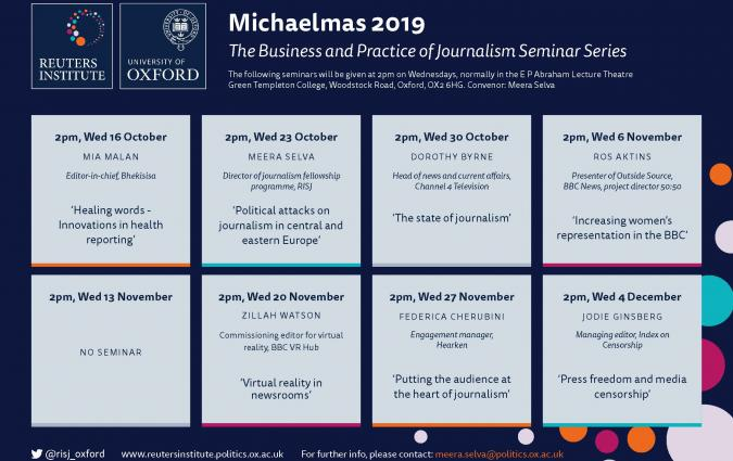 Business and Practice of Journalism Seminar Series announced